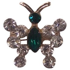 Tiny Butterfly Pin for Doll Green & Clear Rhinestones Gold tone