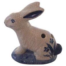 Figural Rabbit  Potting Shed Dedham Pottery Flower Frog or Holder
