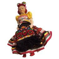 Vintage Fancy Hungarian Cloth Doll in Folk Garb