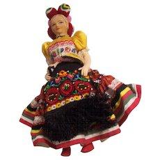 Vintage Fancy Hungarian Cloth Doll in Folk Garb