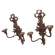 Pr Syroco Double Candle Sconce Candelabra Hollywood Regency Wall Hanging