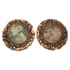 Pr Italian Florentine Gold Gilt Frames w/ Prints