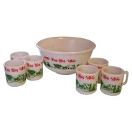 Hazel Atlas Set in Box Egg Nog Punch Bowl & Mugs - Colonial