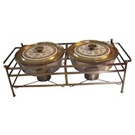 Fire King Georges Briard Twin Casseroles in Warming Stand