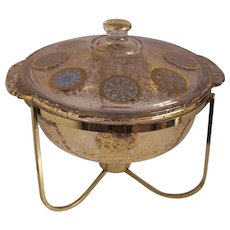 Vintage Fire King Georges Briard Turquoise & Gold Medallion Casserole in Stand