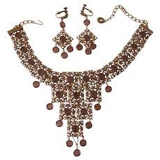 Goldette Bib Necklace & Earrings unsigned Colette set Egyptian Revival