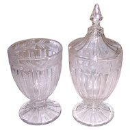 2 Heisey Recessed Panel Candy Apothecary Jars