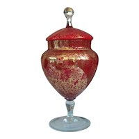 Red Cased Glass Italian Covered Jar with Gold Spatter