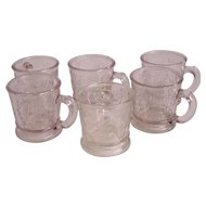 Set 6 EAPG Harp Bird on Nest Mugs McKee Early American Pattern Glass