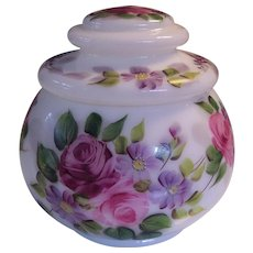 Vintage Hand Painted Roses Covered Jar Opaline Milk Glass Florals
