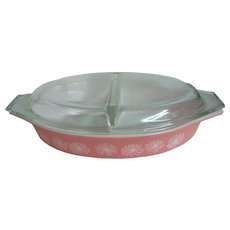Pyrex Pink Daisy 1 1/2 Q Divided Casserole with Lid