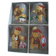 Culver Christmas Yule Bears 4 Double Old Fashion 22K Glasses in Box Christmas