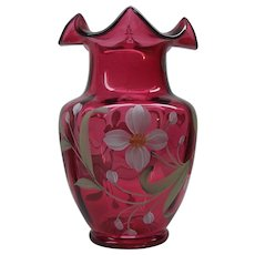 Fenton Ruby Red Hand Painted Signed Floral Ruffled Top Vase w/ Label
