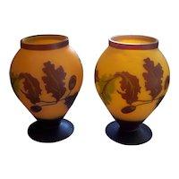 Pr Chinese Peking Cameo Glass Vases Leaves & Berries