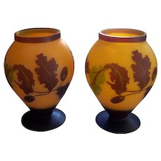 Pr Chinese Peking Cameo Glass Vases Leaves & Berries