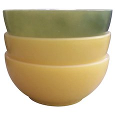 3 Fire King Chili Bowls Yellow Green