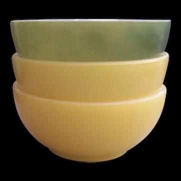 3 Fire King Chili Bowls Yellow Green