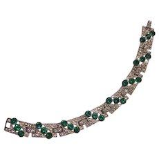 Art Deco Faux Emerald & Clear Pot Metal Geometric Bracelet