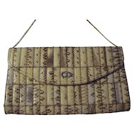 SnakeSkin Envelope Style Clutch with Gold tone Chain Shoulder Strap