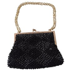 Vintage Black Beaded and Sequins Magid Evening Bag with Brass Chain