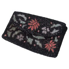 Beautiful Coral and Blue Floral Beaded Black Clutch Evening Bag