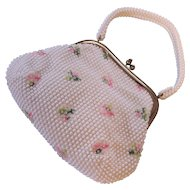 Vintage Lumured Floral Beaded Purse Satchel w/ Roses