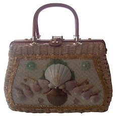 1960's Wicker / Rattan Sea Shells Lucite Handbag ATLAS PRINCESS CHARMING
