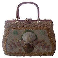 1960's Wicker / Rattan Sea Shells Lucite Handbag ATLAS PRINCESS CHARMING