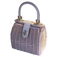 Vintage Wicker Rattan British Hong Kong Purse Handbag