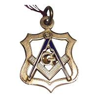 10K Yellow Gold Masonic Fob Pendant w/Enamel