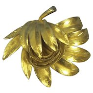 Kramer Layered Leaf Brooch w/ Loops of Mesh Chain Gold tone