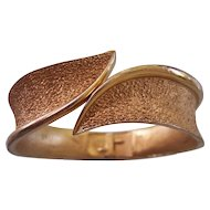 Trifari Hinged Textured Clamper Bangle Bracelet Gold tone