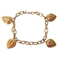 Monet Puffy Leaf Charm Bracelet Goldtone