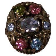 Hollycraft Pastel Rhinestones Ring