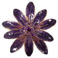 Large Purple & Pink Enamel Rhinestone Flower Brooch