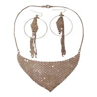 Mesh Bib Necklace & Hoop Earrings Set -  Silver Tone