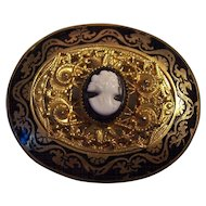 Vintage Victorian Revival Enamel and Cameo Brooch Gold tone