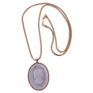 Lucite Intaglio Cameo Pendant Necklace on Gold tone Snake Chain