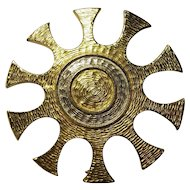 Accessocraft NYC Sunburst Brooch Textured Gold tone