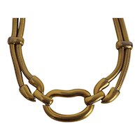 Monet Gold tone Necklace with Snake type Chain