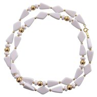 Trifari White Plastic Lucite & Gold tone Necklace