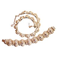 Coro Necklace & Bracelet Set Pegasus Gold tone