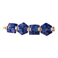 Wide Mid Century Enamel on Copper Abstract Bracelet in Blues