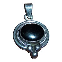 Mexican Sterling Silver & Onyx Pendant