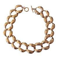 Vintage Anne Klein Gold Tone Wide Heavy Link Necklace