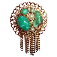 Faux Jade Peking Glass and Pearl Brooch with Tassels