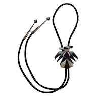 Zuni Thunderbird Inlaid Bolo Tie Sterling Silver