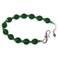 Beautiful Green Faceted Crystal & Sterling Bracelet