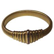 Vintage Napier Expandable Gold tone Ribbed Snake Bracelet