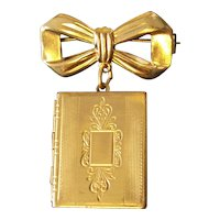 Vintage Gold tone Bow with Book Locket